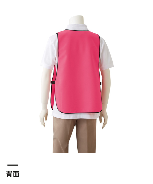 かぶりな蛍光エプロン(TAN-002)背面 女性着用イメージ(F)