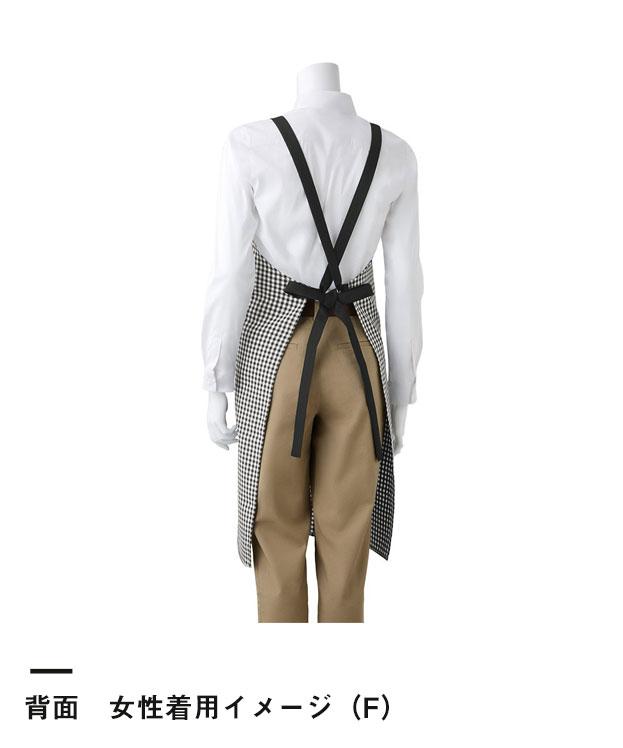 トレンディチェックエプロン(TRD-008)背面 女性着用イメージ(F)