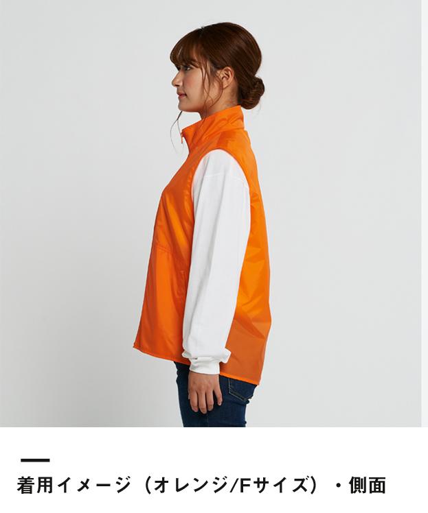 ベーシックカラーベスト(00008-NEV)着用イメージ(オレンジ/Fサイズ)・側面