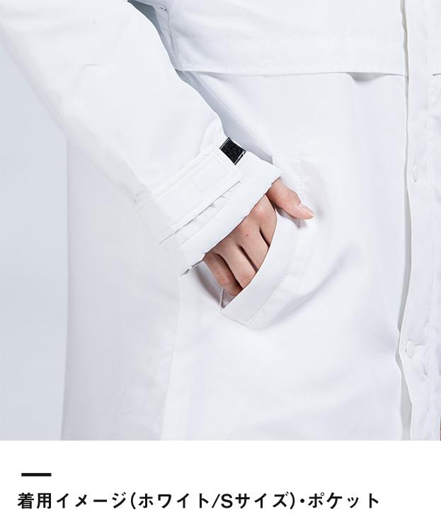 アクティブベンチコート(00230-ABC)着用イメージ(ホワイト/Sサイズ)・ポケット