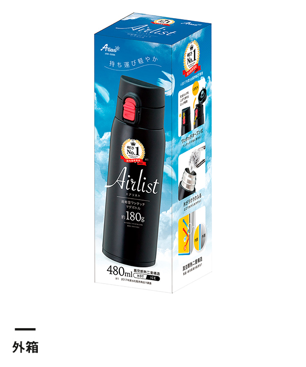 アトラス Airlist 超軽量ワンタッチボトル480ml(ARW-500)外箱