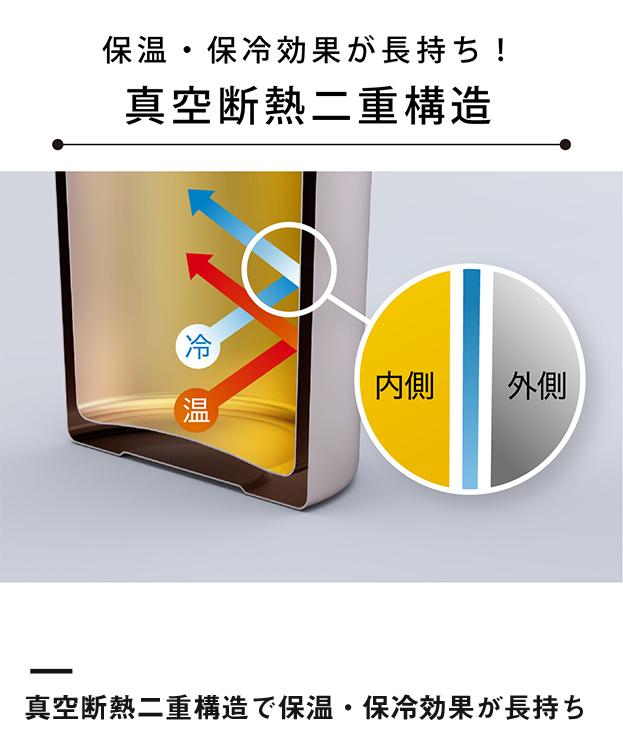 アトラス 軽量ワンタッチマグボトル500ml(ASW-500)真空断熱二重構造で保温・保冷効果が長持ち
