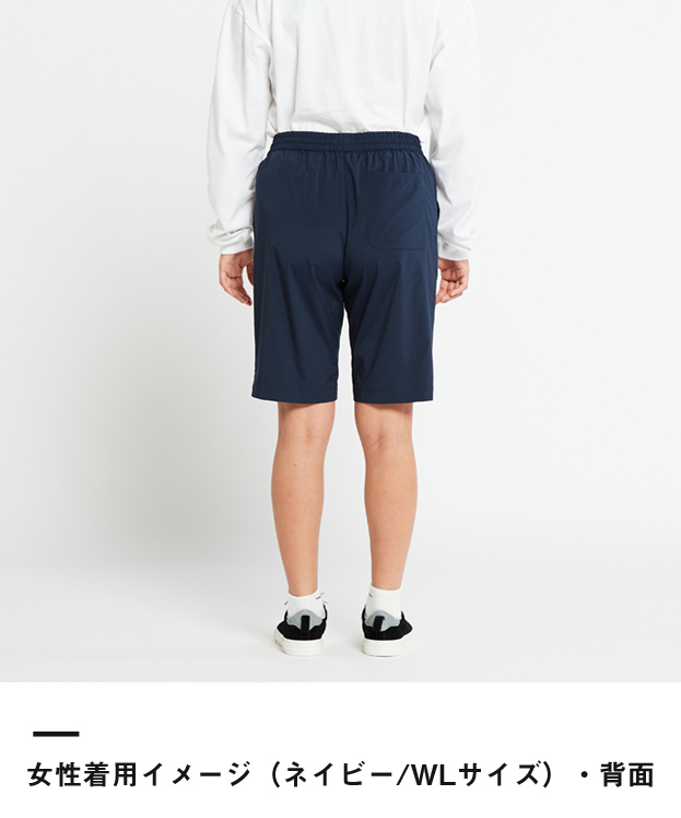 ドライストレッチハーフパンツ(00372-SAH)女性着用イメージ(ネイビー/WLサイズ)・背面