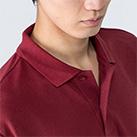 5.8オンス T/Cポロシャツ(ポケット無し)(00141-NVP)着用イメージ(バーガンディ/Lサイズ)・襟