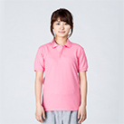 5.8オンス T/Cポロシャツ(ポケット無し)(00141-NVP)着用イメージ(コーラルピンク/SSサイズ)