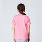 5.8オンス T/Cポロシャツ(ポケット無し)(00141-NVP)着用イメージ(コーラルピンク/SSサイズ)・背面