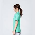 5.8オンス ベーシックレイヤードポロシャツ(00195-BYP)着用イメージ(ミントグリーン×ネイビー/SSサイズ)・側面