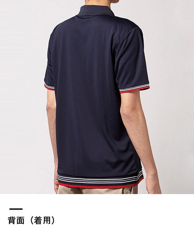 裾ラインリブポロシャツ(MS3117)背面(着用)