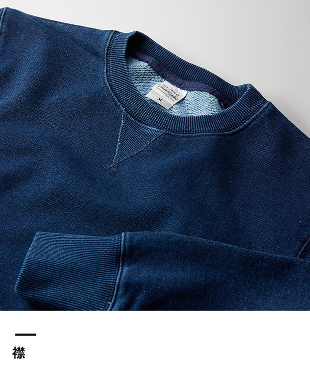 12.2オンス クルーネックデニムスウェット(3906-01)襟