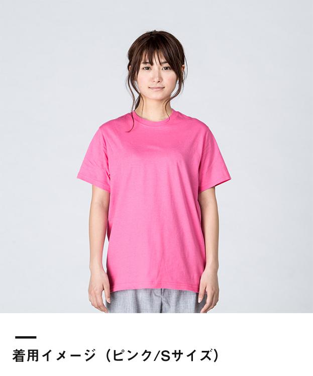 4.0オンス ライトウェイトTシャツ(00083-BBT)着用イメージ(ピンク/Sサイズ)