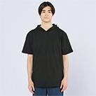 5.6オンス ヘビーウェイトフーディTシャツ(00105-CHD)着用イメージ(ブラック/Lサイズ)正面