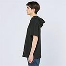 5.6オンス ヘビーウェイトフーディTシャツ(00105-CHD)着用イメージ(ブラック/Lサイズ)側面
