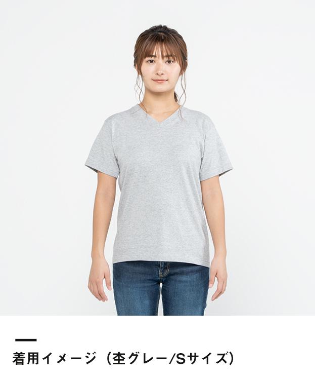 5.6オンス ヘビーウェイトVネックTシャツ(00108-VCT)着用イメージ(杢グレー/Sサイズ)