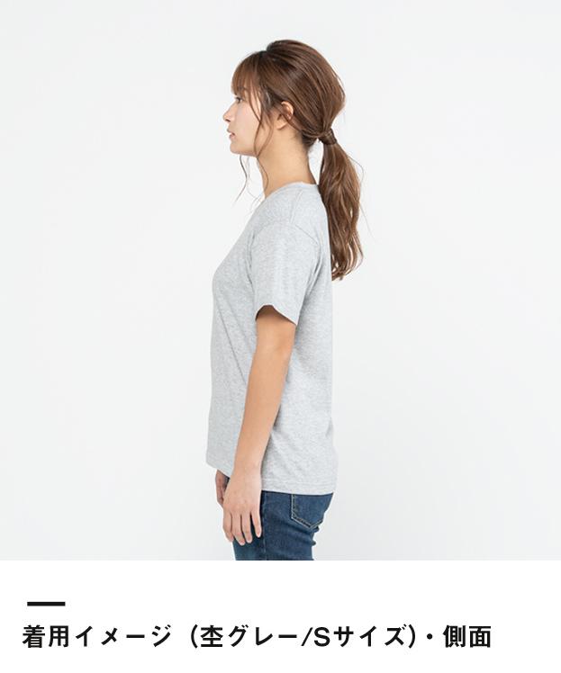 5.6オンス ヘビーウェイトVネックTシャツ(00108-VCT)着用イメージ(杢グレー/Sサイズ)・側面
