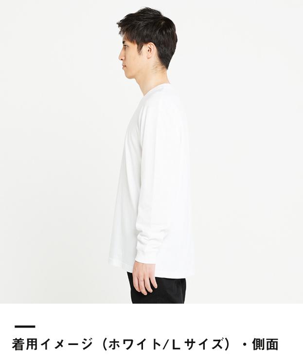5.6オンス ヘビーウェイトLS-Tシャツ(+リブ)(00110-CLL)着用イメージ(ホワイト/Lサイズ)側面
