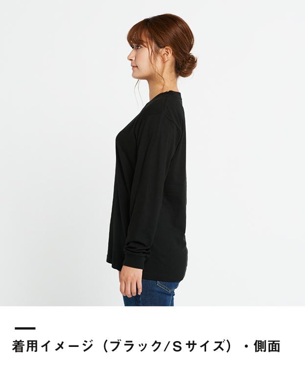 5.6オンス ヘビーウェイトLS-Tシャツ(+リブ)(00110-CLL)着用イメージ(ブラック/Sサイズ)側面