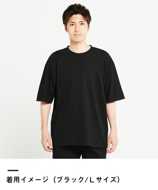 5.6オンス ヘビーウェイトビッグTシャツ(00113-BCV)着用イメージ(ブラック/Lサイズ)