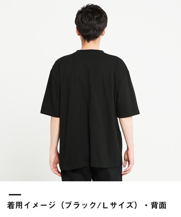 5.6オンス ヘビーウェイトビッグTシャツ(00113-BCV)着用イメージ(ブラック/Lサイズ)背面