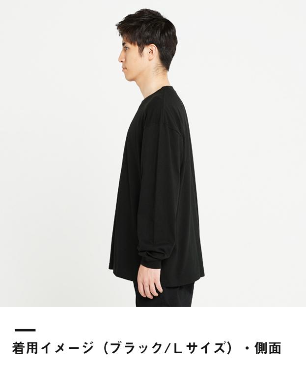 5.6オンス ヘビーウェイトビッグLS-Tシャツ(00114-BCL)着用イメージ(ブラック/Lサイズ)側面