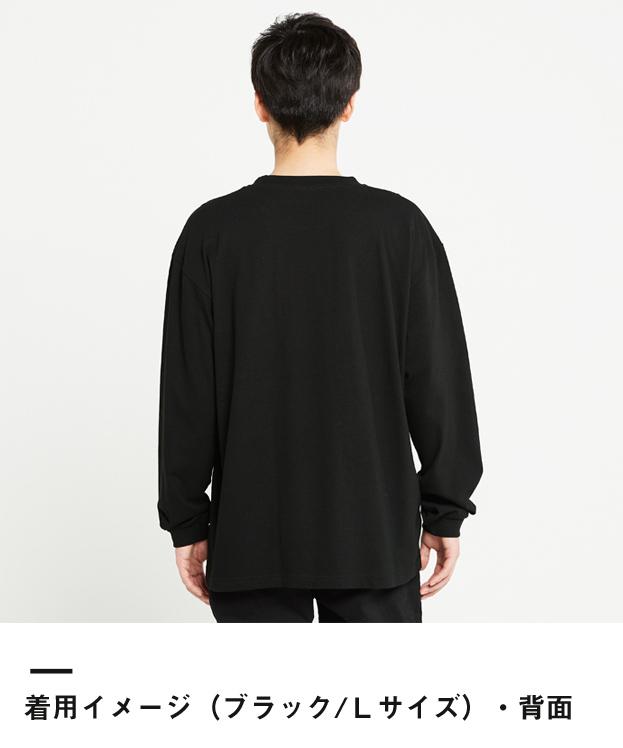 5.6オンス ヘビーウェイトビッグLS-Tシャツ(00114-BCL)着用イメージ(ブラック/Lサイズ)背面