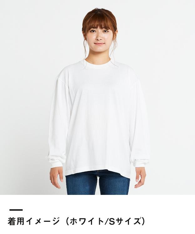 5.6オンス ヘビーウェイトビッグLS-Tシャツ(00114-BCL)着用イメージ(ホワイト/Sサイズ)