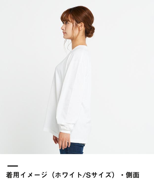 5.6オンス ヘビーウェイトビッグLS-Tシャツ(00114-BCL)着用イメージ(ホワイト/Sサイズ)側面