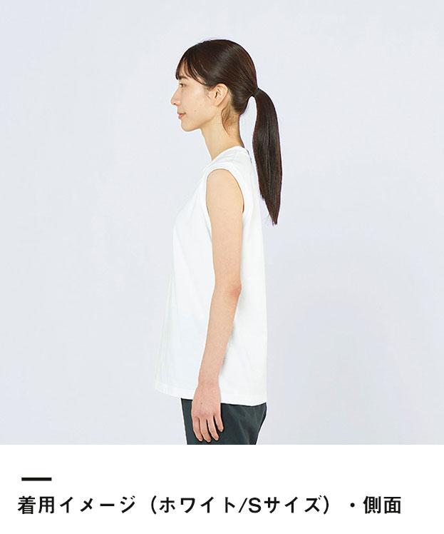 5.6オンス ヘビーウェイトスリーブレスTシャツ(00115-CNS)着用イメージ(ホワイト/Sサイズ)側面