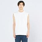 5.6オンス ヘビーウェイトスリーブレスTシャツ(00115-CNS)着用イメージ(ホワイト/Lサイズ)正面
