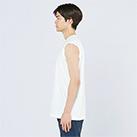 5.6オンス ヘビーウェイトスリーブレスTシャツ(00115-CNS)着用イメージ(ホワイト/Lサイズ)側面