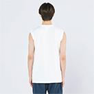 5.6オンス ヘビーウェイトスリーブレスTシャツ(00115-CNS)着用イメージ(ホワイト/Sサイズ)背面