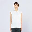5.6オンス ヘビーウェイトスリーブレスTシャツ(00115-CNS)着用イメージ(ホワイト/Sサイズ)正面