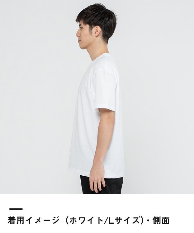 5.8オンス TCクルーネックTシャツ(00117-VPT)着用イメージ(ホワイト/Lサイズ)・側面