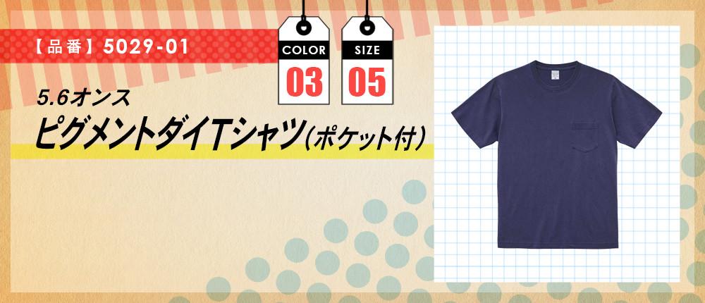 5.6オンス ピグメントダイTシャツ(ポケット付)(5029-01)3カラー・5サイズ