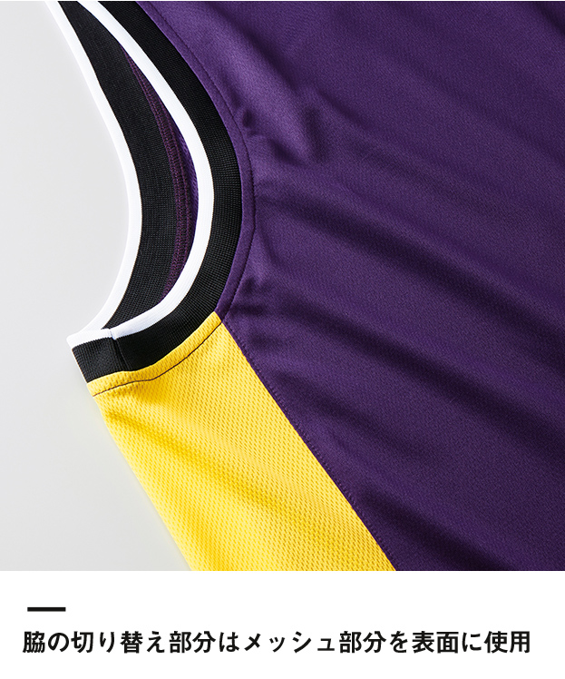 4.1オンス ドライバスケットボールシャツ(5925-01)脇の切り替え部分はメッシュ部分を表面に使用