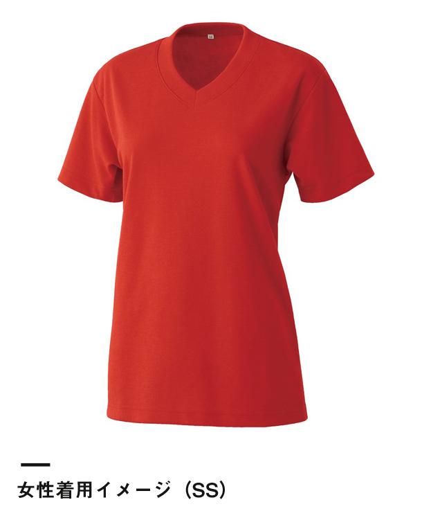 エアレットVネックTシャツ(AIR-020)女性着用イメージ(SS)