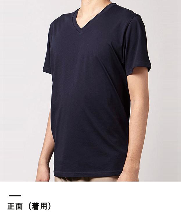 オーガニックコットンVネックTシャツ(MS0302)正面(着用)