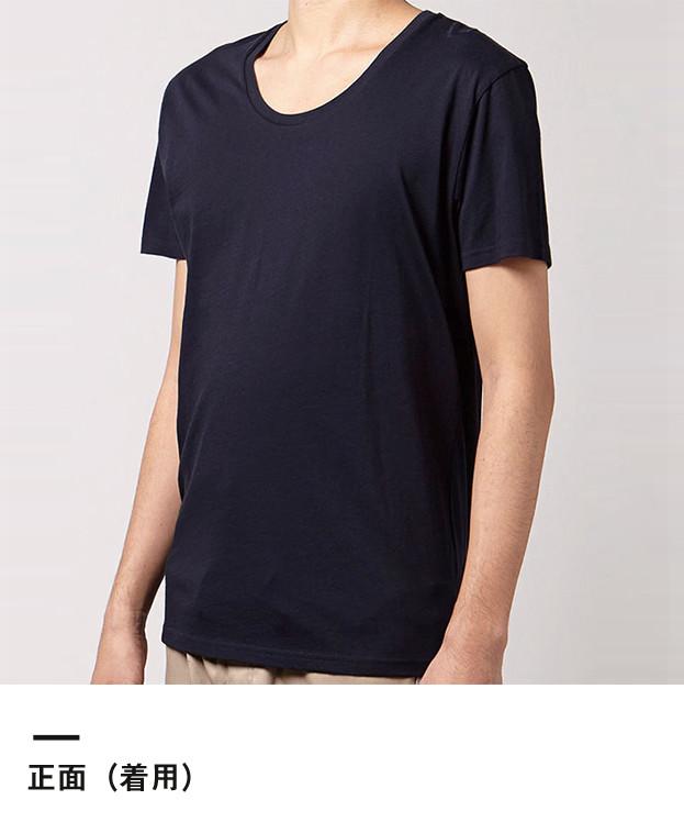 オーガニックコットンUネックTシャツ(MS0303)正面(着用)