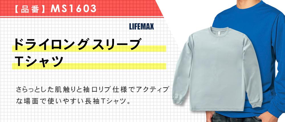 ドライロングスリーブTシャツ(MS1603)5カラー・7サイズ