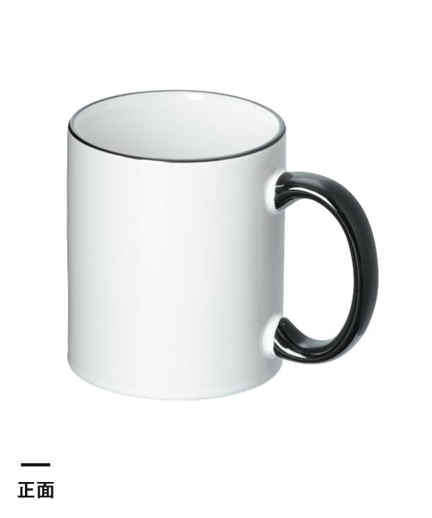 フルカラー転写用マグカップ(ブラックハンドル/350ml)(白)(163647)正面