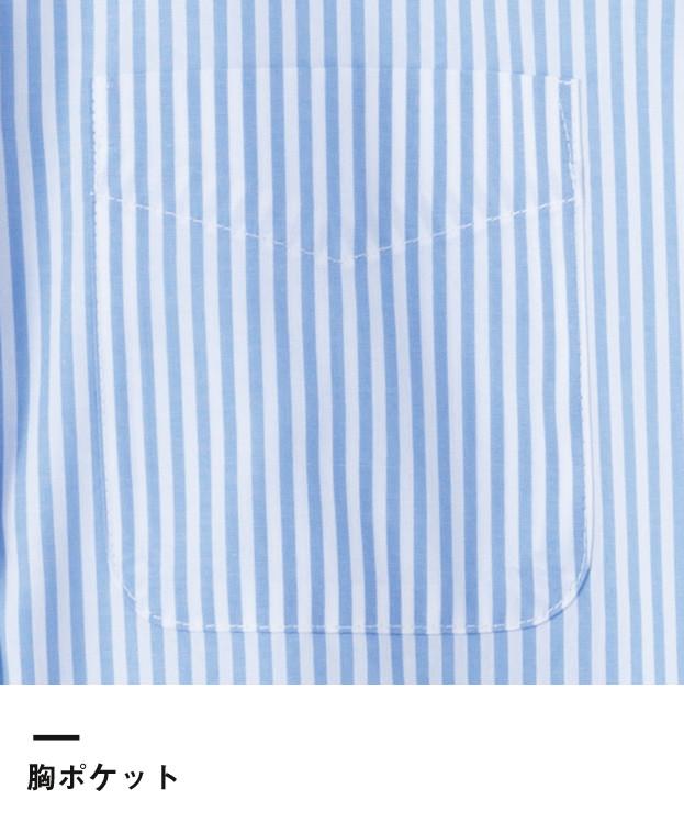レディスストライプ調温半袖ブラウス(FB4024L)胸ポケット