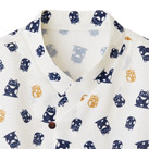 和衿プリントシャツ(招き猫)(FB4537U)着物風の重ね衿