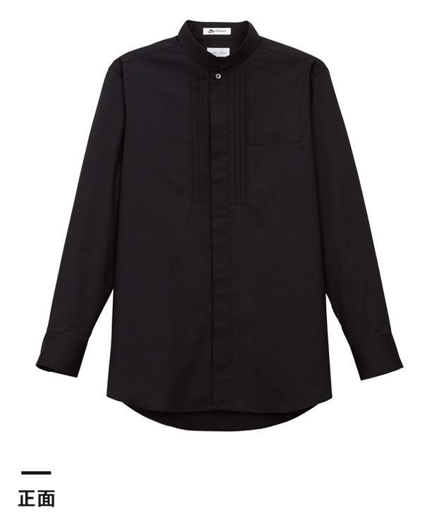 メンズピンタックスタンドカラー長袖シャツ(FB5001M)正面