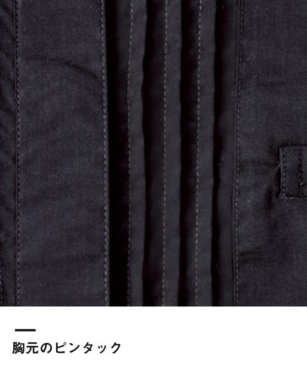 メンズピンタックスタンドカラー長袖シャツ(FB5001M)胸元のピンタック
