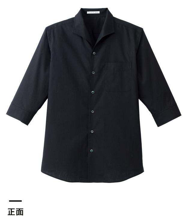 メンズイタリアンカラー七分袖シャツ(FB5034M)正面