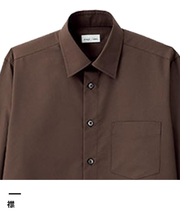 メンズレギュラーカラー長袖シャツ(FB5040M)襟