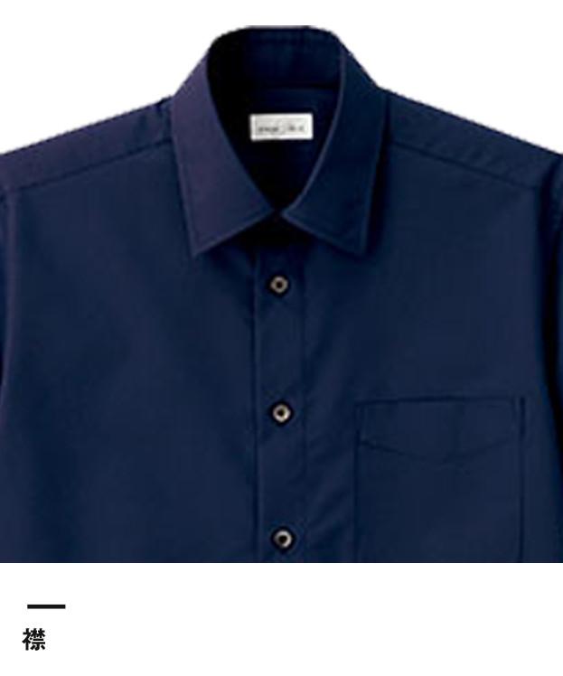 メンズレギュラーカラー半袖シャツ(FB5041M)襟
