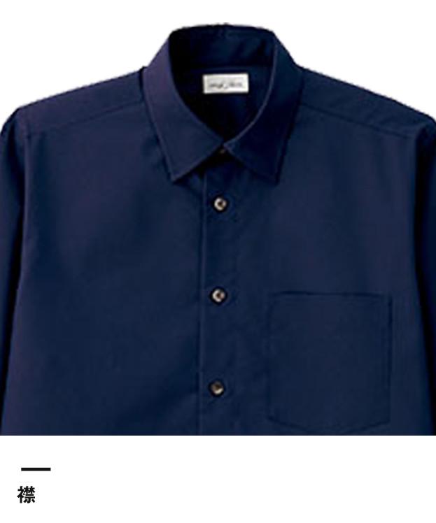 メンズレギュラーカラー七分袖シャツ(FB5042M)襟