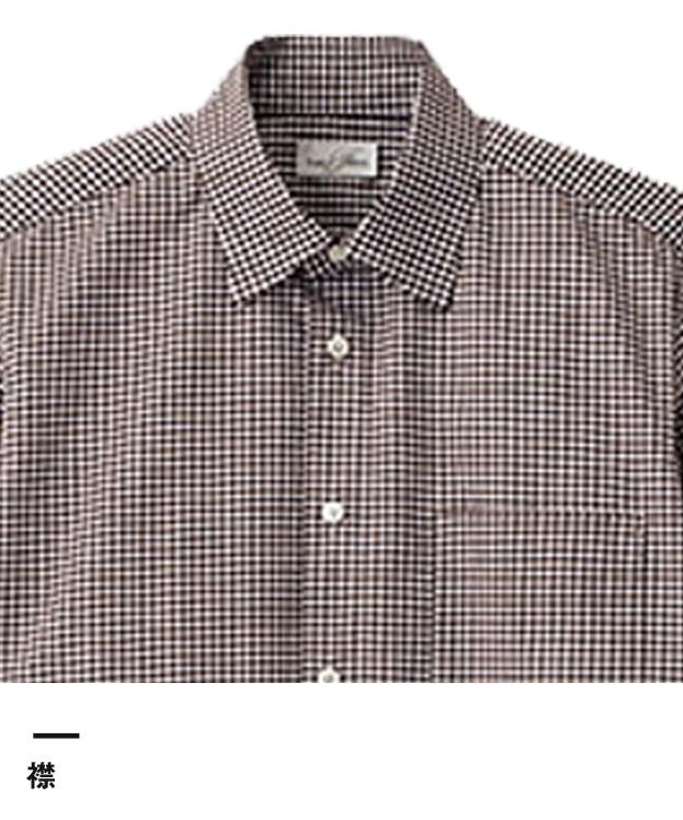 メンズセミワイドカラー七分袖シャツ(FB5048M)襟