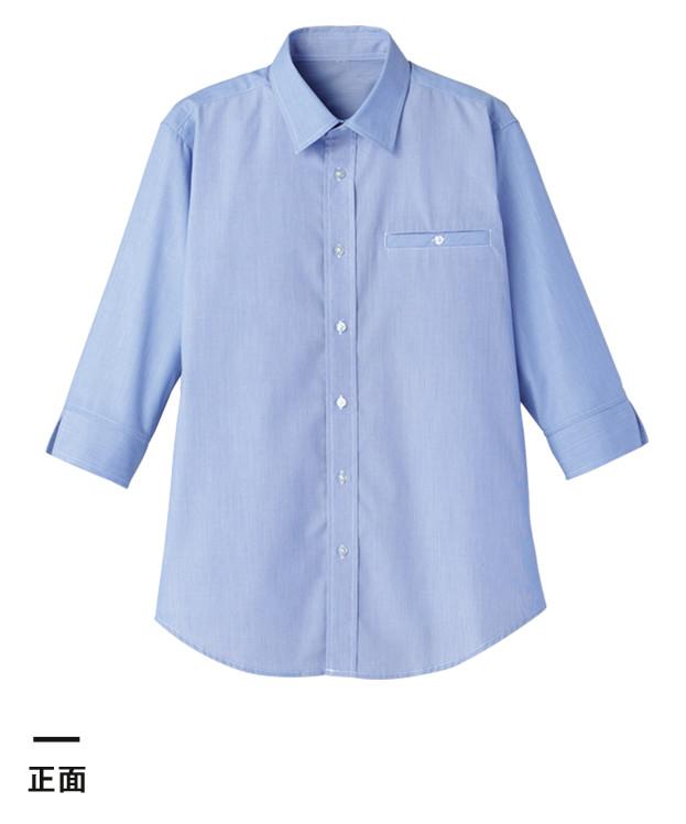 マイクロチェック七分袖シャツ(FB561U)正面
