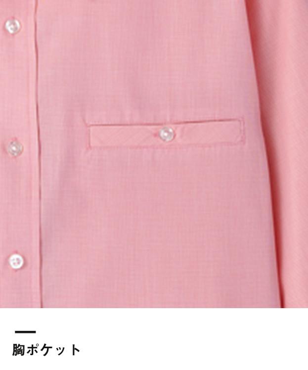 マイクロチェック七分袖シャツ(FB561U)胸ポケット